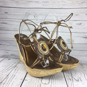 Aldo Women's Wedge Sandals Gladiator 41 US 9.5 Lea